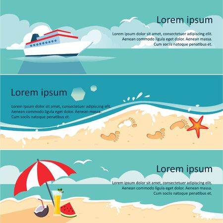 oceanside: Set of Horizontal Banners with Seaside and Starfish. Vector illustration
