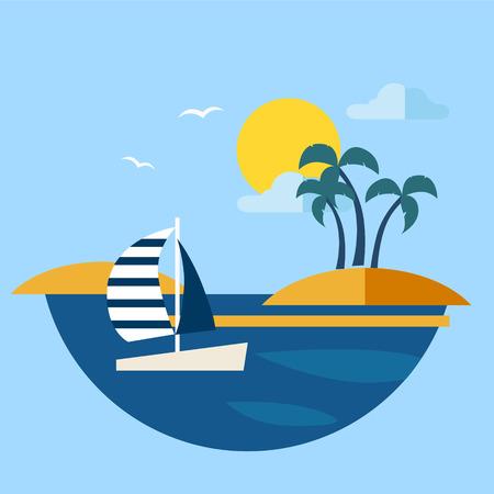 uninhabited: Summer seascape with sailboat Vector illustration modern style Illustration