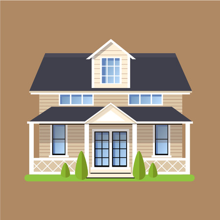 Colorful Flat style Residential Houses vector illustration