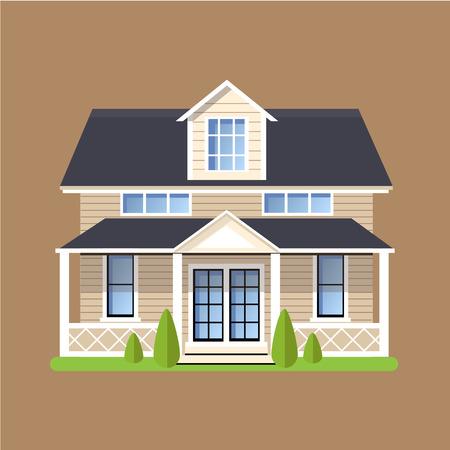 Colorido estilo Flat Casas Residencial ilustración vectorial Foto de archivo - 47989194