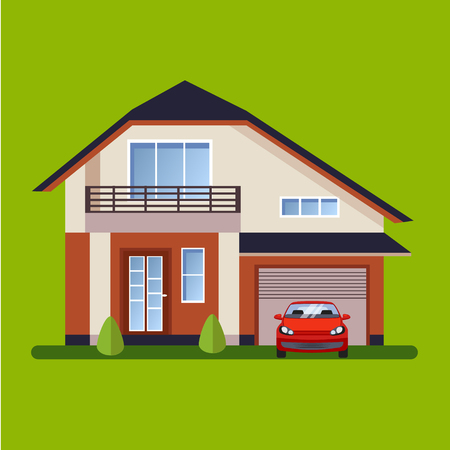 nice house: Colorful Flat style Residential Houses vector illustration