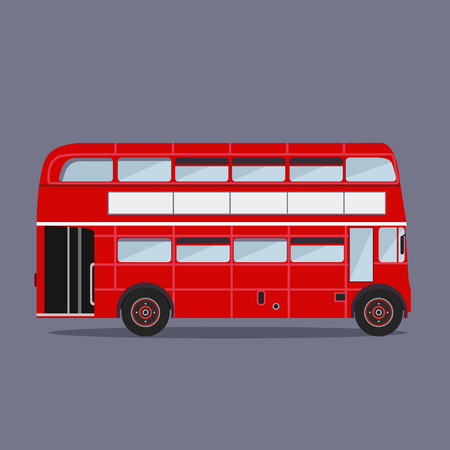 double decker bus: Vector flat design. London buses colored silhouette