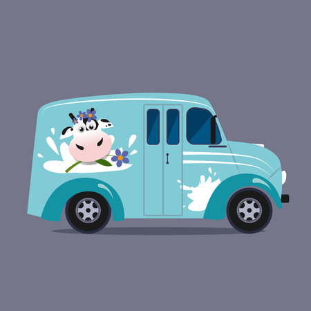 local supply: Vector modern flat design illustration on dairy milk delivery service  local delivery truck Illustration