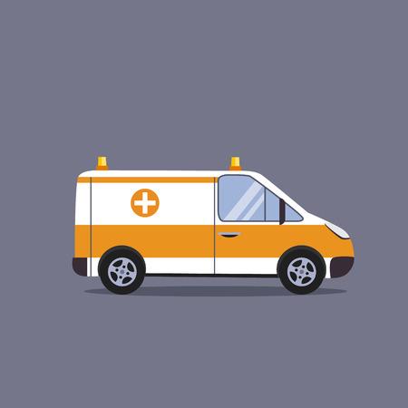 ambulancia: concepto de ilustraci�n del vector del coche ambulancia estilo plano Vectores