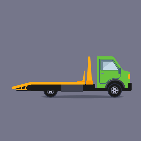 conveyance: Truck for transportation faulty and emergency cars vector Illustration