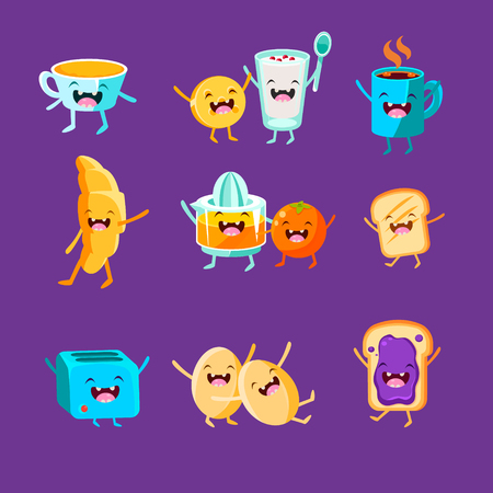 bacon and eggs: Fun Breakfast. Food with cute faces, happy. Vector illustration set