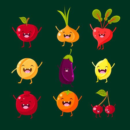 Cheerful fruit and vegetables. Food with cute faces, happy. Vector illustration set Çizim