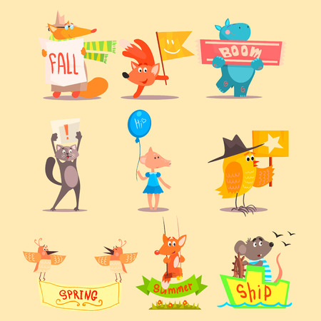 cowboy cartoon: Flat Season Animal Icons. Vector Illustrations Set