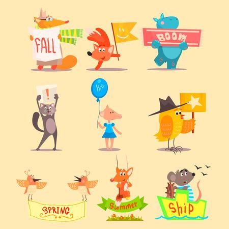 hipopotamo caricatura: Temporada plana Iconos animales. Vector ilustraciones Conjunto