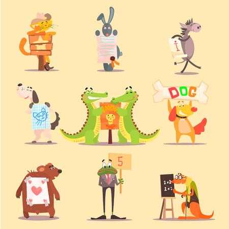 cat suit: Cute Animals Cartoon Illustrator Flat Design Set