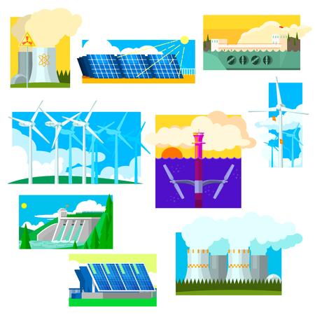 illustration collection: Eco Energy Symbols Set. Vector Illustration Collection