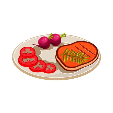 steak plate: Steak with Vegetables on a Plate. Colourful Vector Illustration Illustration
