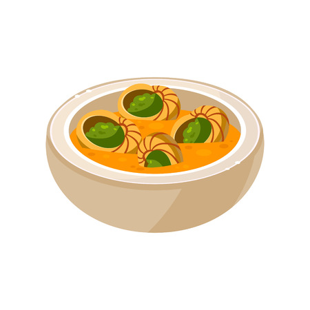 delicacy: French Snail Soup in a Bowl. Vector Illustration