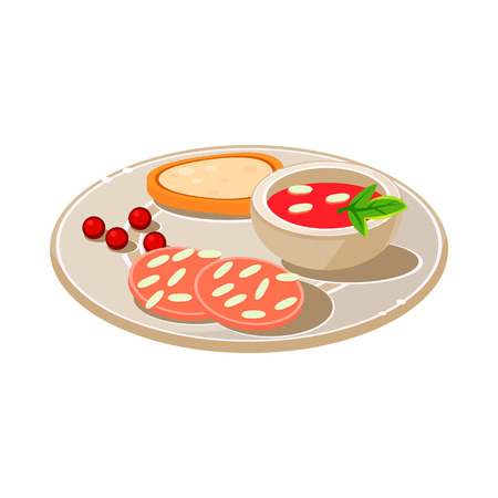 shrimp cocktail: Tasty snack with bread and soum. Vector Illustration.