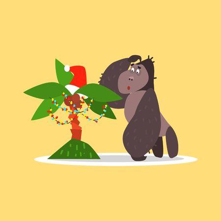 Gorilla and Christmas Palm Tree. Flat Vector Illustration