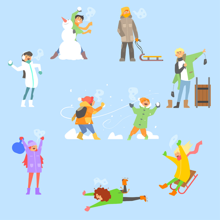 and in winter: Winter Fun and Activities. Vector Illustration Collection Illustration