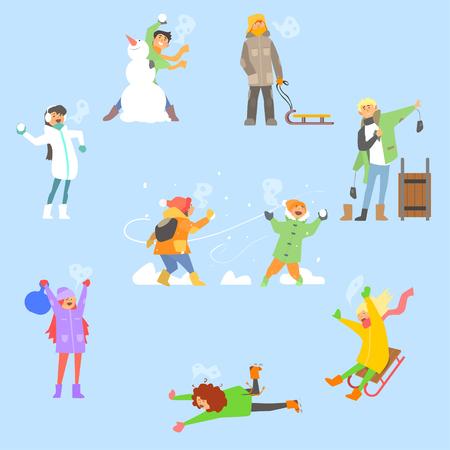 Winter plezier en activiteiten. Vector Illustration Collectie