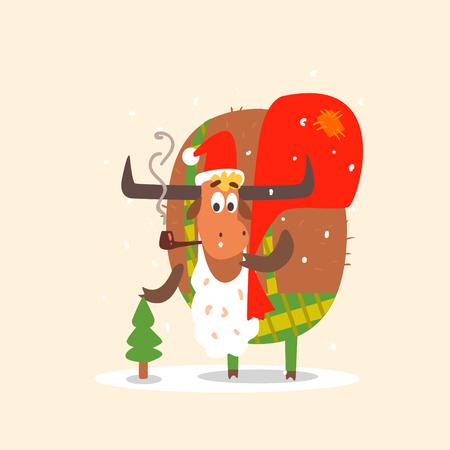hoofs: Santa Bull with Beard and Sack. Christmas Vector Illustration Illustration