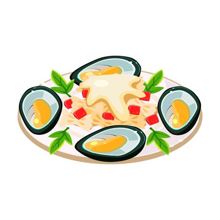 tasty: Tasty Mussels with Noodels on a Dish. Vector Illustration Illustration