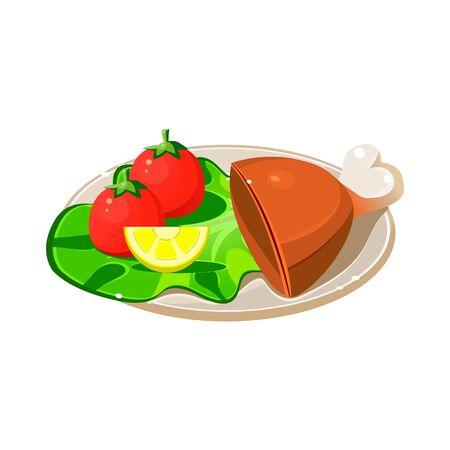 breakfast plate: Tasty Breakfast Plate with Ham, Lettuce and Tomatos. Vector Illustration