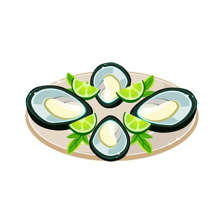 oyster: Tasty Mussels with Lime on a Dish. Vector Illustration