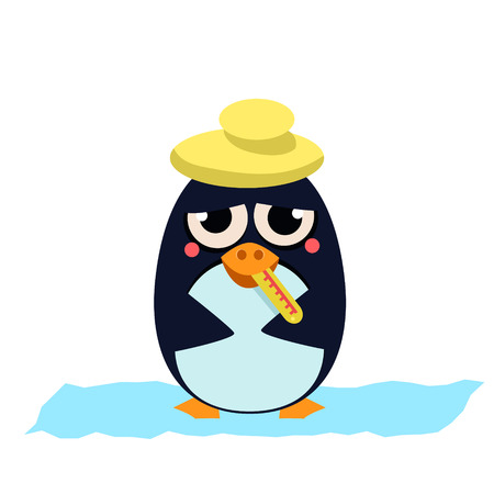 cold pack: Cute Sick Penguin with Thermometer. Vector Illustration