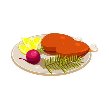roasted turkey: Roasted Turkey Ham with Vegetables and Apples on a Dish. Vector Illustartion