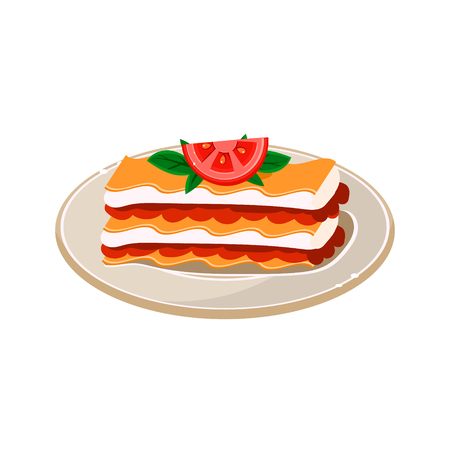 twarożek: Breakfast Waffle with Tomato. Vector Illustration Appetizing dishes collection