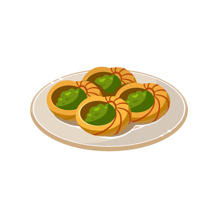 French Traditional Snail Dish. Vector Illustration Appetizing dishes collection