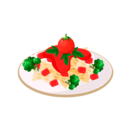 dishes: Delicious Pasta with Tomatoes. Vector Illustration Appetizing dishes collection