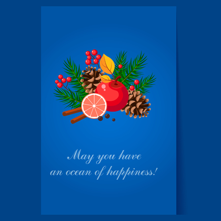 congratulations cards spice: Christmas Design with Fir, Grapefruit, Berries and Cinnamon. Winter Illustration