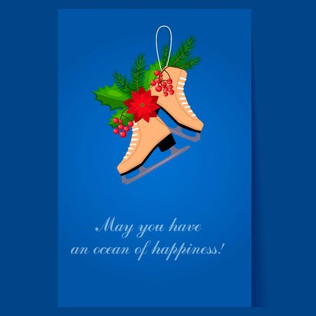 winterberry: Christmas Skates with Fir, Berries and Poinsettia. Holiday Illustration Illustration