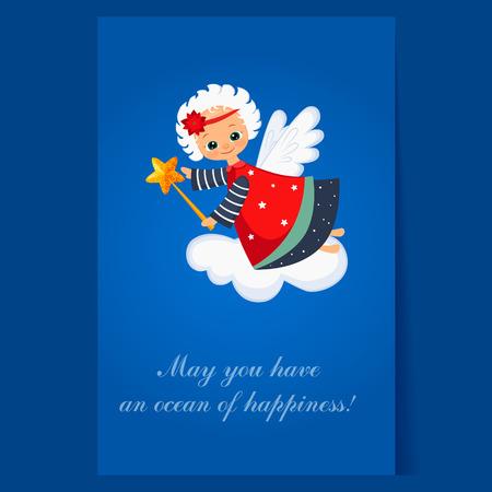 angel flying: Christmas Angel Flying with a Magic Wand. Winter Illustration
