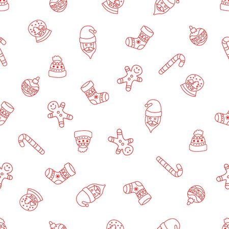garabatos: Christmas seamless background in the style of Doodle