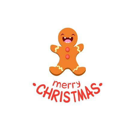 meet and greet: Ginger man Vector Cheerful Christmas card. Merry Christmas and Happy New Year Illustration