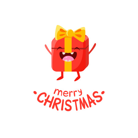 unpacking: Gift Box cartoon with funny face Illustration Isolated On White Background Illustration