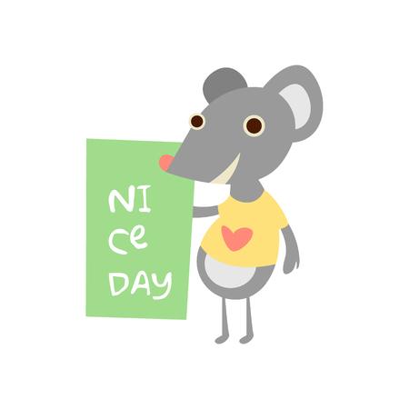 myszy: Cute myszy ze znakiem dla tekstu, ilustracji wektorowych