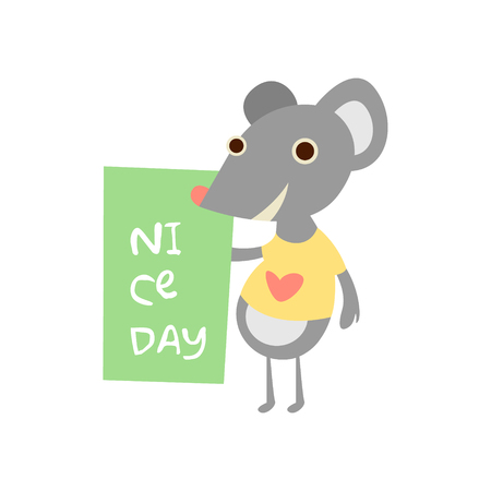 raton: Ratón lindo con una muestra de texto, ilustración vectorial Vectores