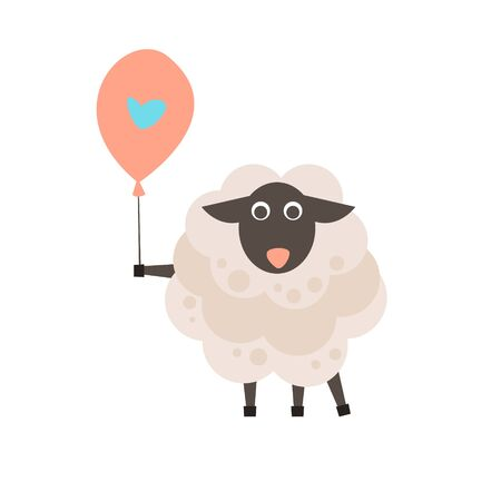 kinky: Cute sheep with a sign for text, vector illustration Illustration