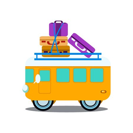 summer tires: Bus Side View With Heap Of Luggage, Flat Vector Illustration