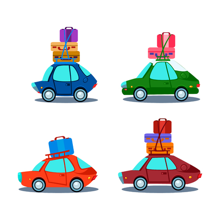 heap: Car Side View With Heap Of Luggage, Flat Vector Illustration Illustration