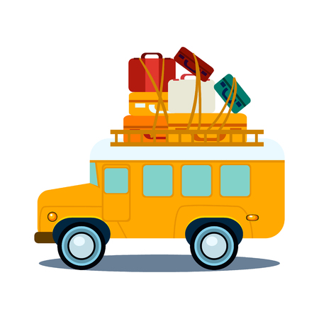 heap: Bus Side View With Heap Of Luggage, Flat Vector Illustration