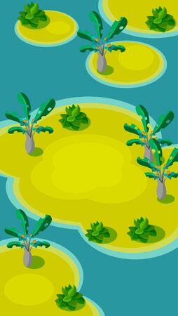 lindo: Vertical Landscape Illustration Background, Islands with Palm Trees