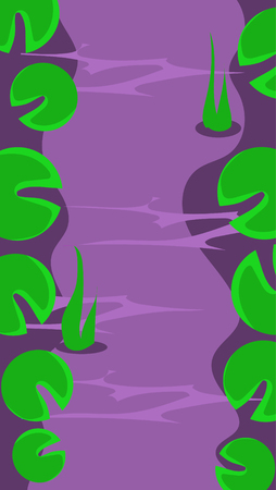 Vertical Landscape Illustration Background, River with Leaves of Water Lillies Illustration