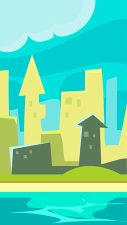 horizon reflection: Green City Vertical Landscape  Flat style, vector illustration
