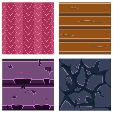 wood textures: Textures for Platformers Icons Vector Illustration Set of Stone, Wood and Gems Illustration