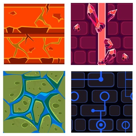 textures: Textures for Platformers Icons Vector Illustration Set for Games