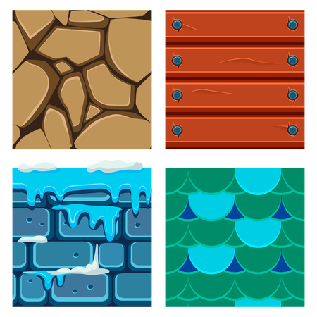 brick earth: Textures for Platformers Icons Vector Illustration Set of Wood, Scale and Bricks
