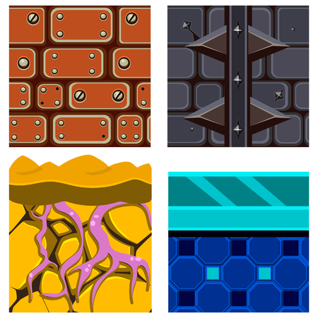 textures: Textures for Platformers Icons Vector Illustration Set with Roots, Ice and Bricks Illustration