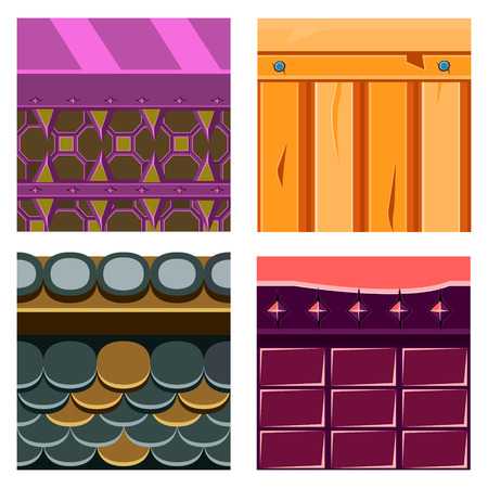 voilet: Textures for Platformers Icons Vector Illustration Set with Wood Boards and Scale